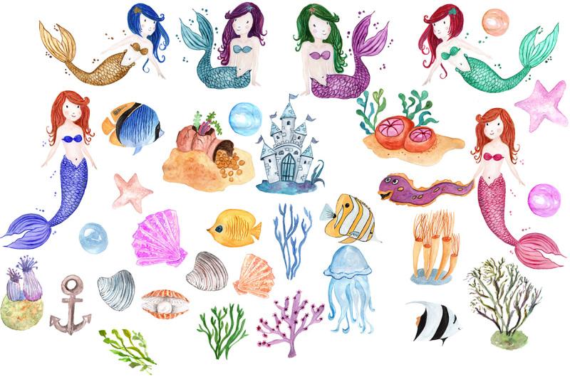 watercolor-mermaids-clip-art