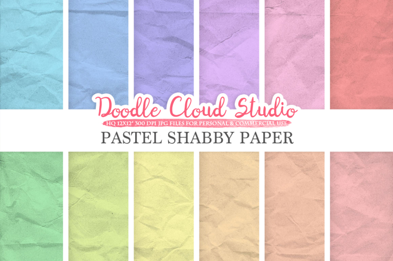 pastel-shabby-digital-paper-pack-soft-colors-old-paper-texture-grungy-paper-folded-paper-background-instant-download-for-commercial-use