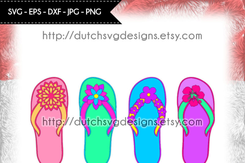 flip-flop-cutting-file-with-4-different-flower-decorations-in-jpg-png-svg-eps-dxf-for-cricut-and-silhouette-flipflop-svg-flip-flop-svg-sandals-svg-thong-svg