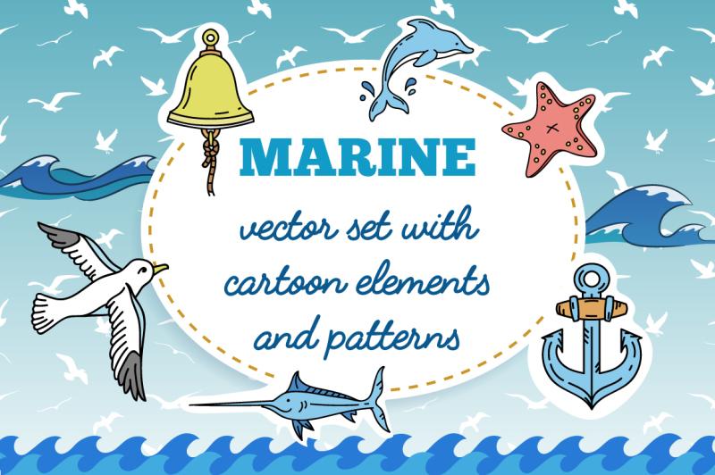 vector-set-of-nautical-hand-drawn-cartoon-elements