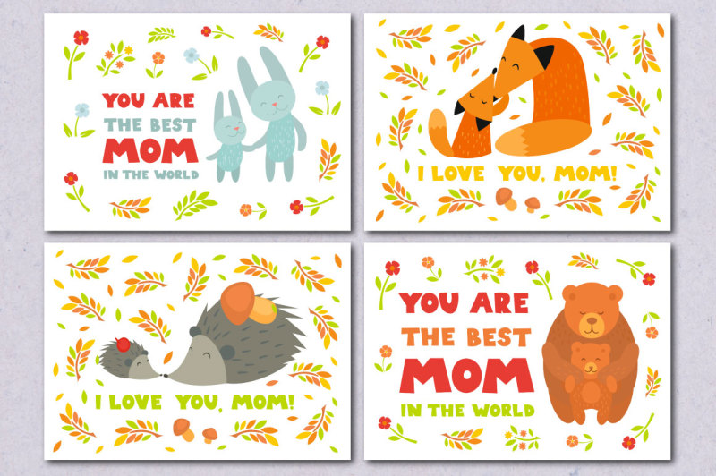 mother-s-day-cards-vector-animals