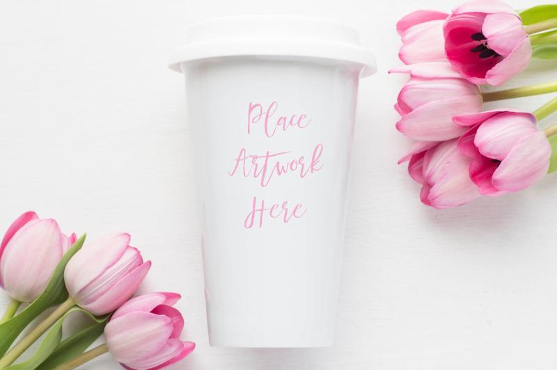 Free Pink Tulips Ceramic Travel Mug Mockup (PSD Mockups)