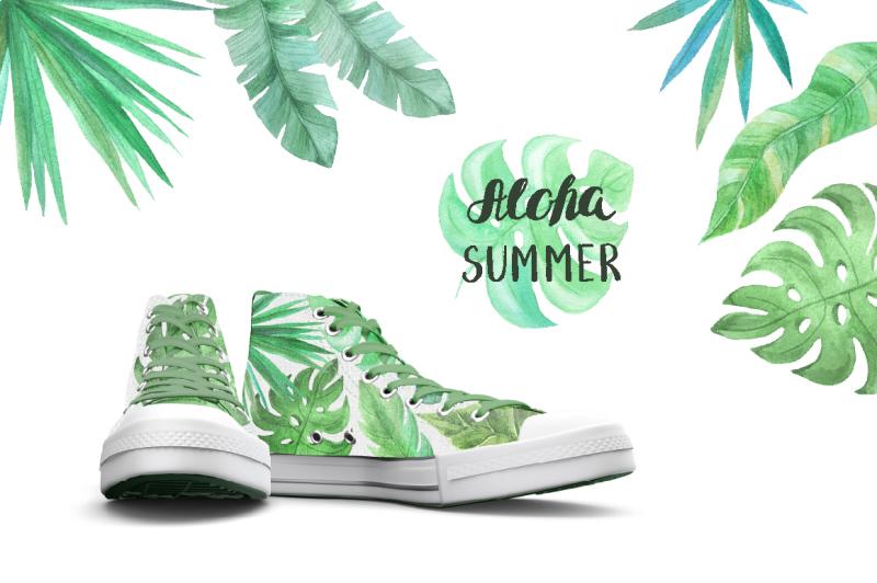 watercolor-tropic-leaves-set