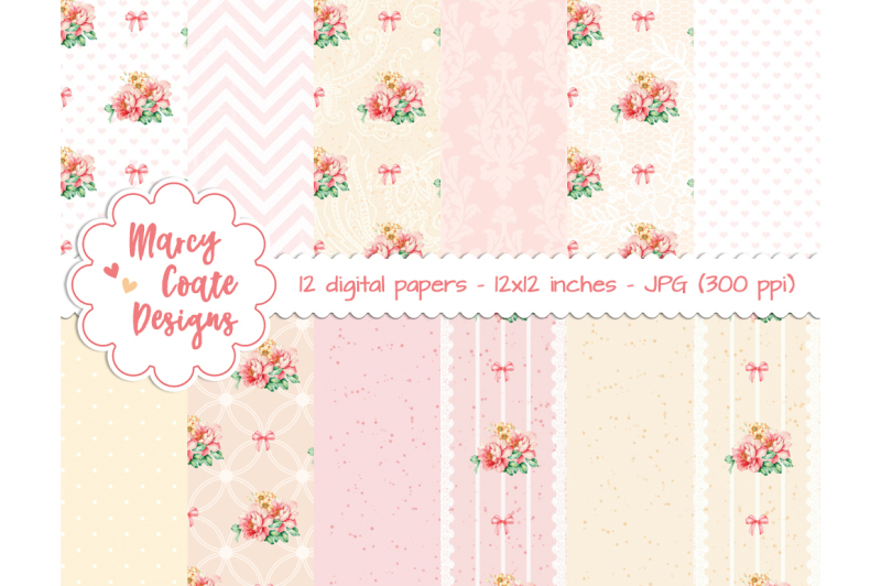 pink-and-yellow-roses-digital-paper-printable-paper-12-backgrounds