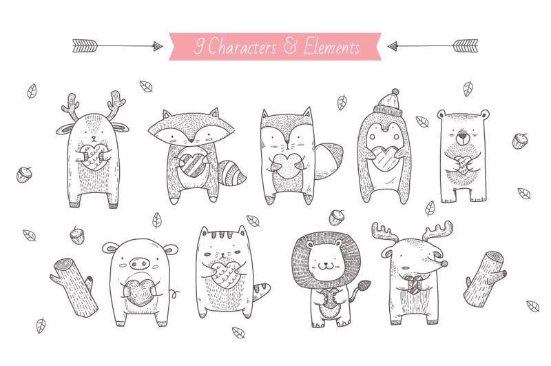 handdrawn-cute-animals