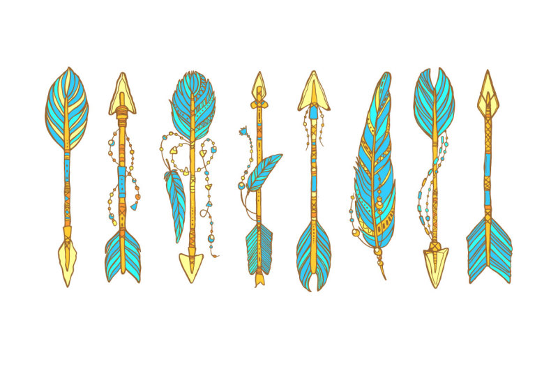 vector-ethnic-arrows-with-feathers