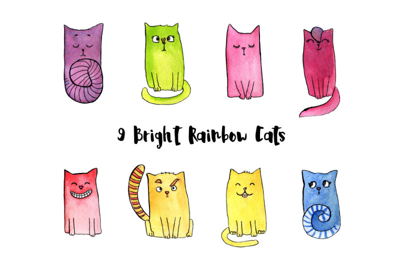 watercolor-bright-rainbow-cats