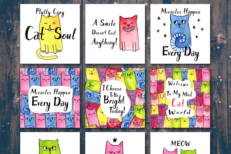 watercolor-bright-rainbow-cats