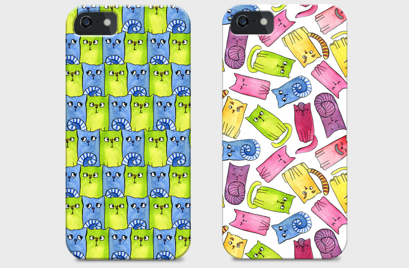 watercolor-patterns-rainbow-cats-by-valentina-gurina-in-graphics-patterns