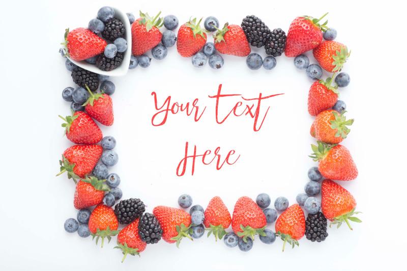 Free Summer Berries Frame Mockup (PSD Mockups)