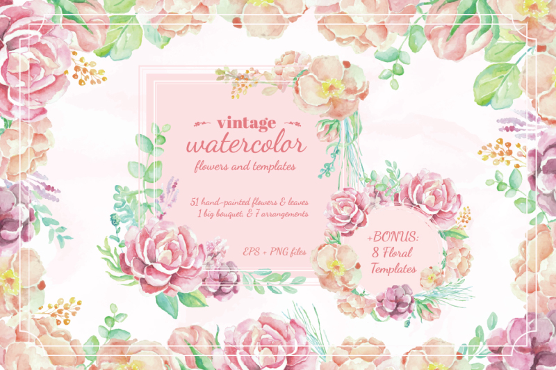 vintage-watercolor-flowers-and-templates