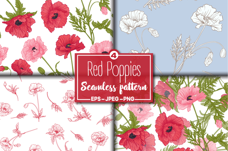 4-red-poppies-seamless-patterns