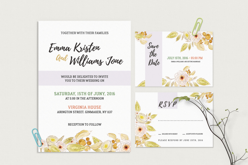 Diy Calligraphy For Wedding Invitations: Floral Wedding Invitation Suite, DIY Modern Invitation