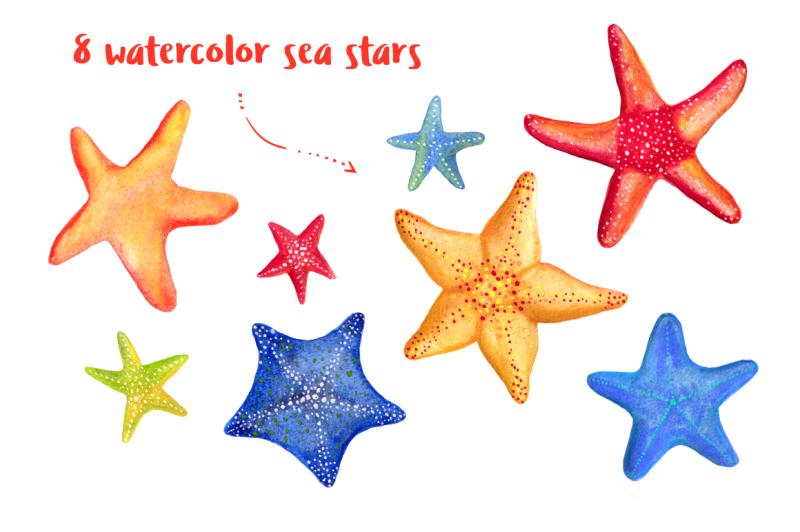 watercolor-sea-stars-patterns