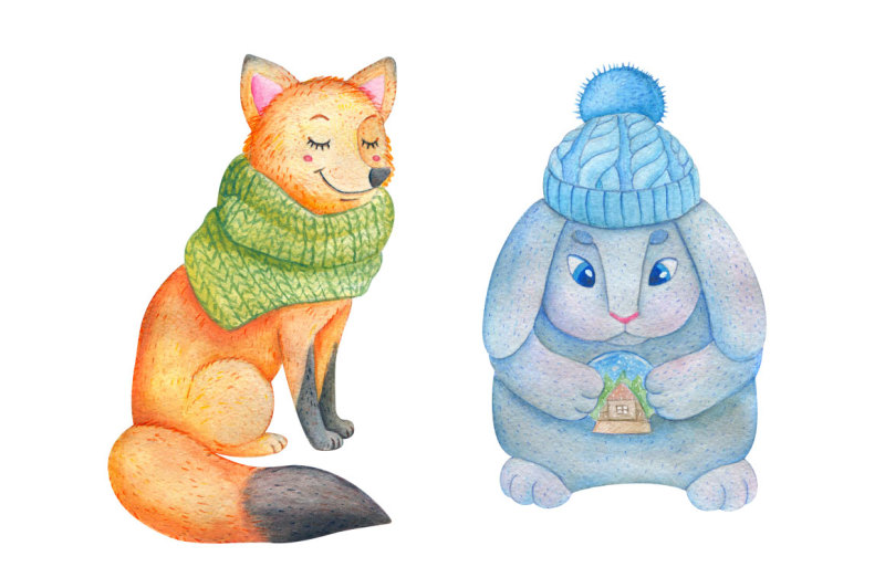 watercolor-winter-animals