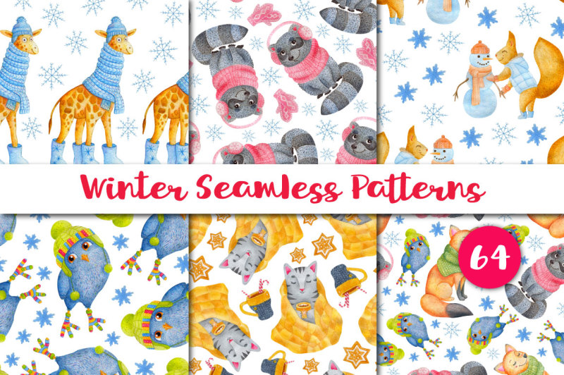 watercolor-patterns-winter-animals