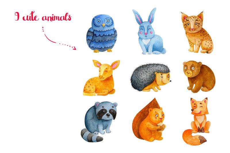 woodland-animals-watercolor-bundle