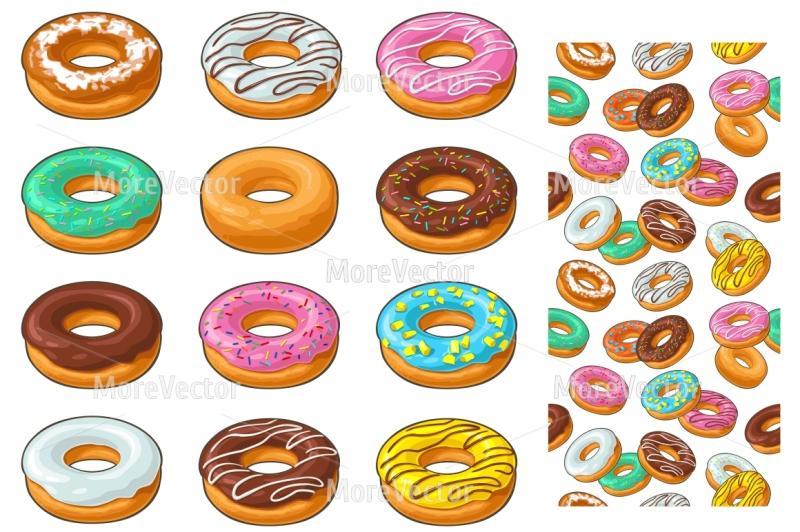 set-donut-with-different-icing-glaze-stripes-sprinkles