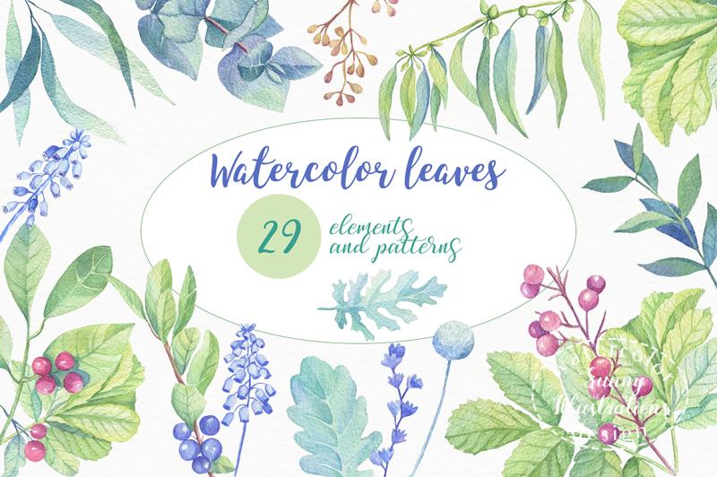watercolor-leaves-berries-flowers