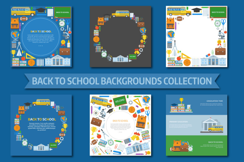 back-to-school-backgrounds-set