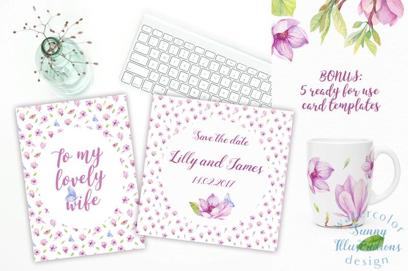 watercolor-magnolia-design-pack