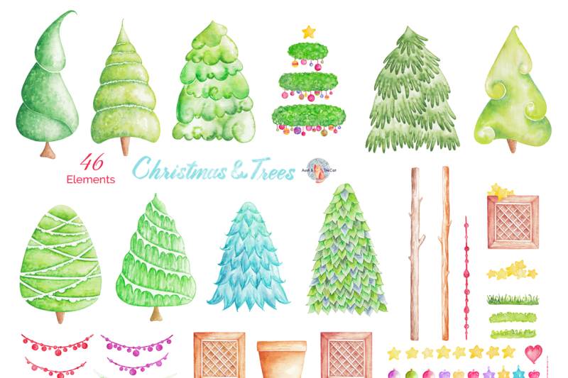 Christmas Trees Watercolor Clipart By Auraandthecat