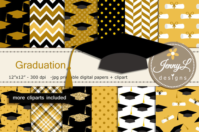 graduation-digital-papers-and-clipart-set