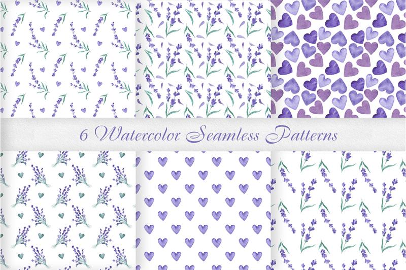 watercolor-lavender-seamless-patterns-set