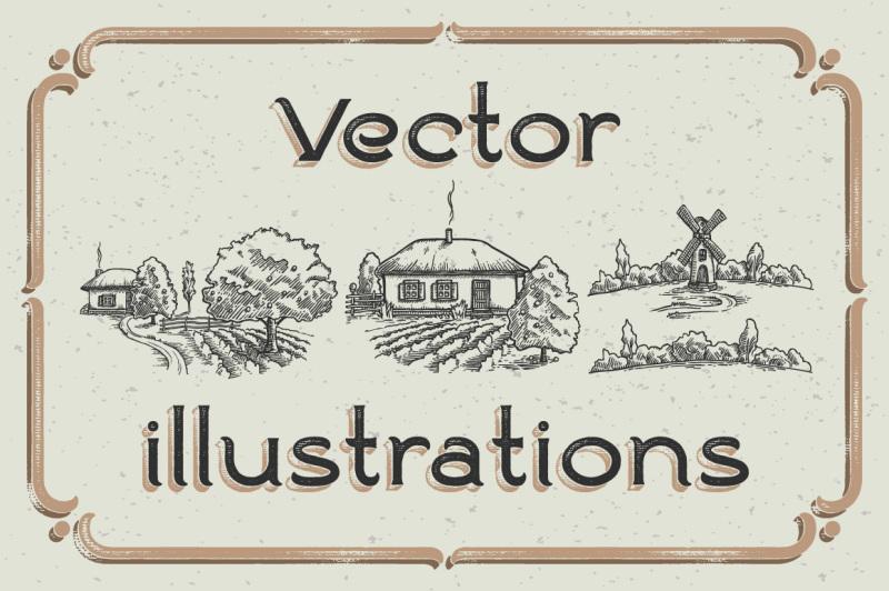 ranch-vintage-font-and-illustrations