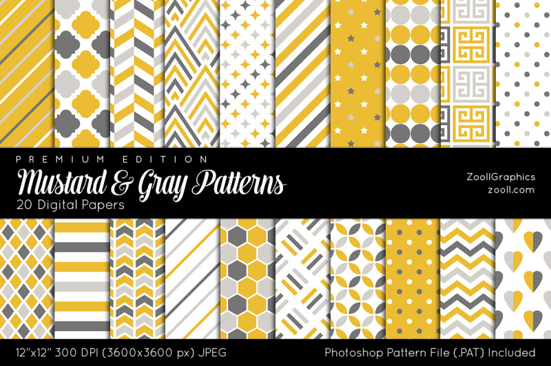 mustard-and-gray-digital-papers