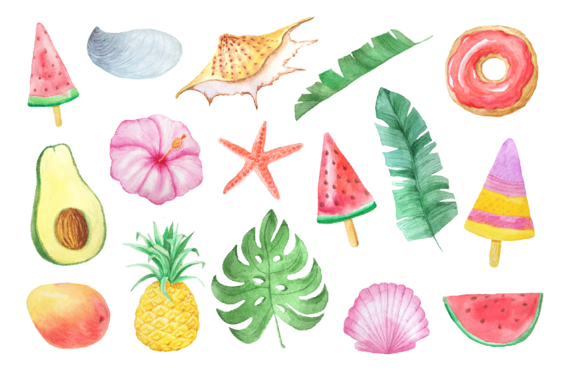 watercolor-summer-vibes-set
