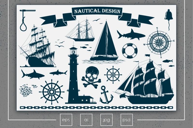 nautical-design-elements-vector-set
