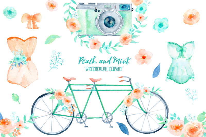 wedding-clipart-peach-and-mint