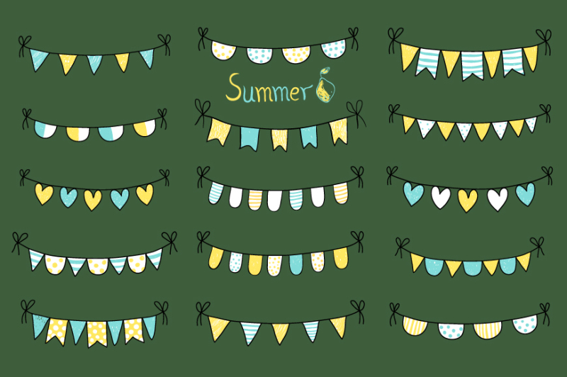 hand-drawn-summer-doodle-bunting-yellow-and-blue-beach-party-flags-birthday-bunting