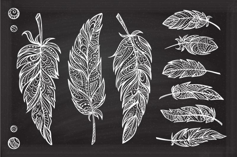 boho-feathers-set