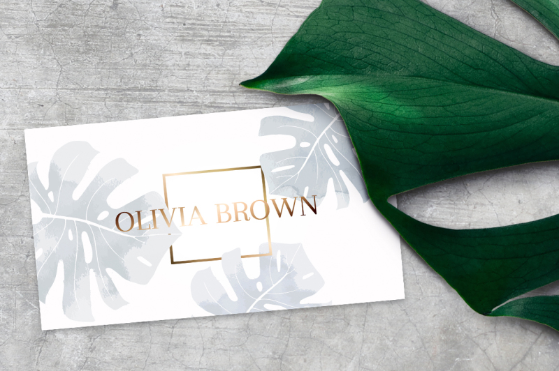 feminine-business-card-with-monstera