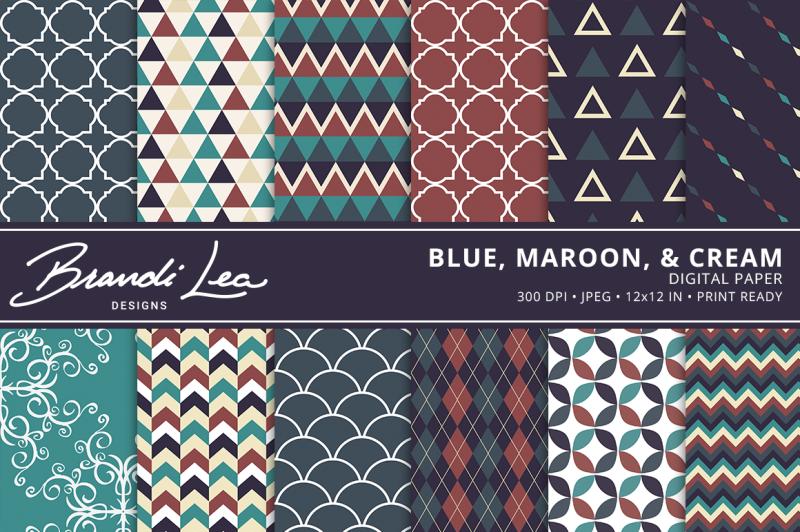 blue-maroon-and-cream-digital-paper