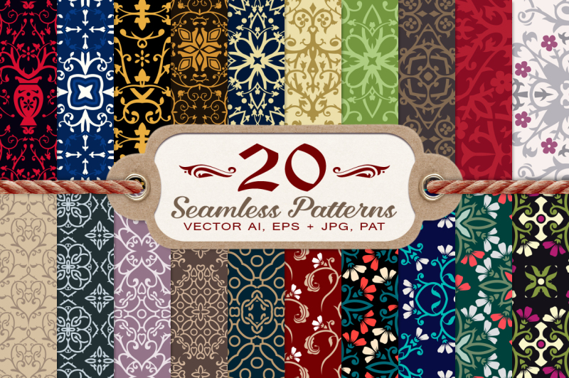20-damask-and-floral-seamless-patterns