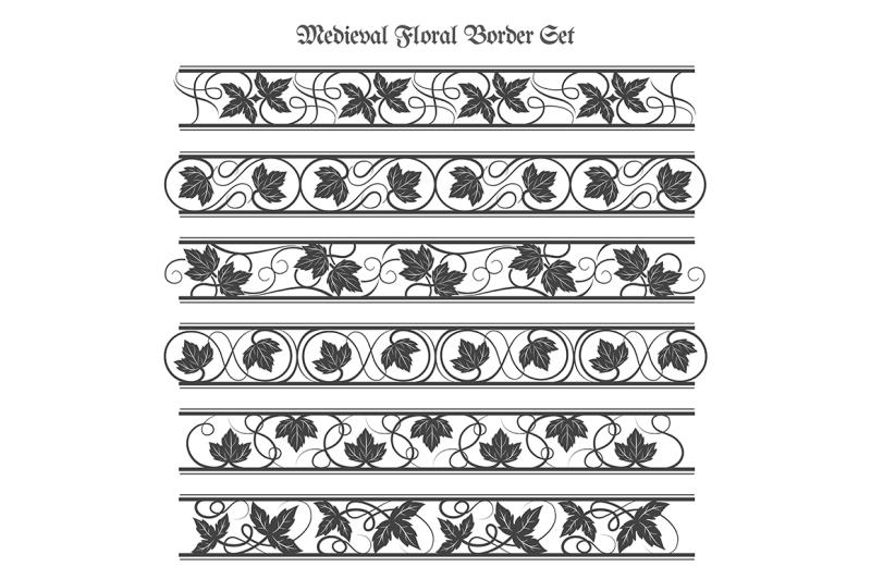 medieval-floral-border-set
