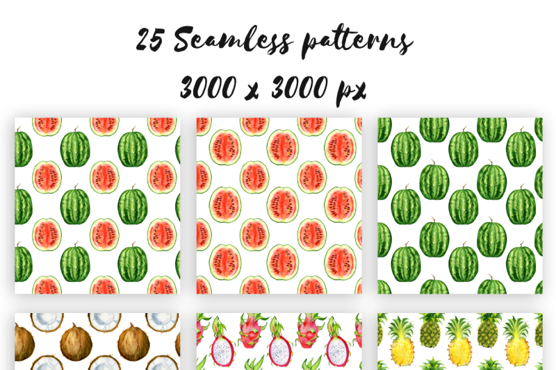 digital-paper-seamless-pattern-watercolor-tropical-fruits-clipart