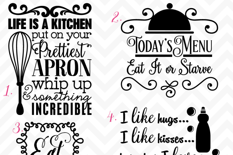 Svg Dxf Kitchen Quotes And Saying Cuttables By Sonya