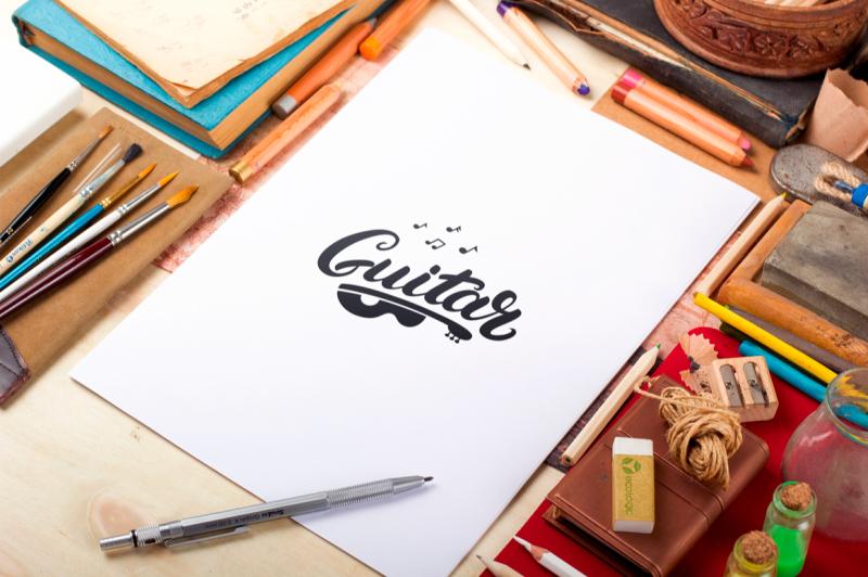 music-and-guitar-shop-logo-set
