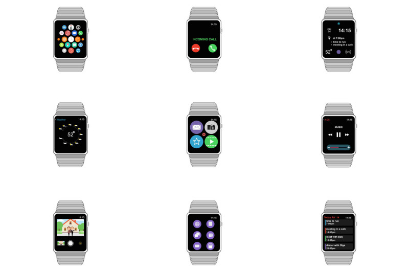 apple-watch-wireframe-icons-isolated-on-white-background