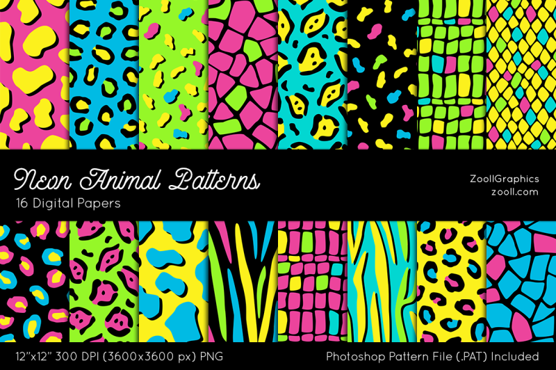 neon-animal-digital-papers