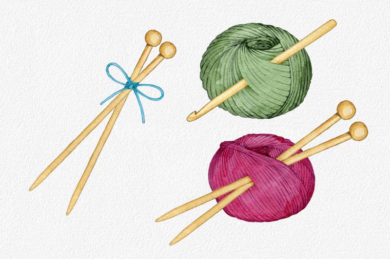 hand-drawn-watercolor-knittig-set