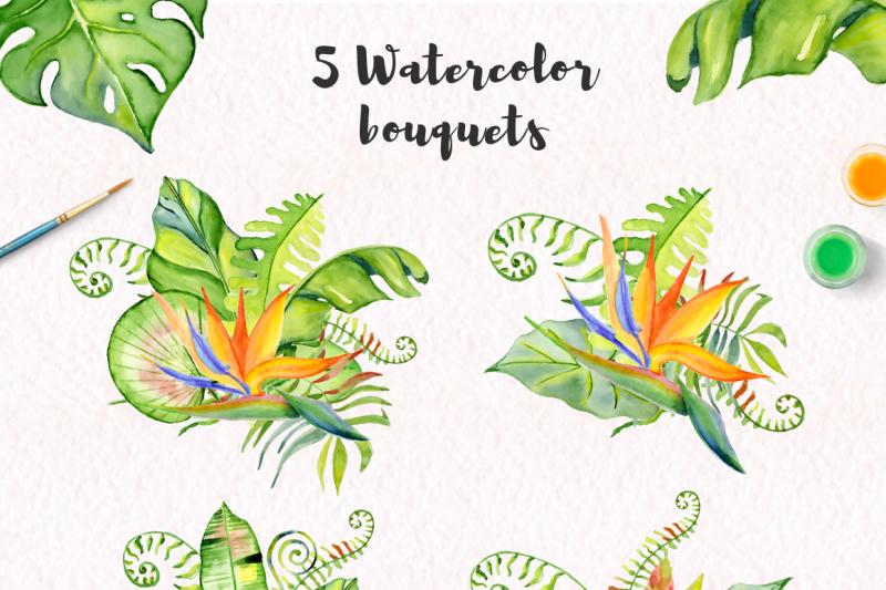 tropical-bouquets-watercolor-jungle-clipart
