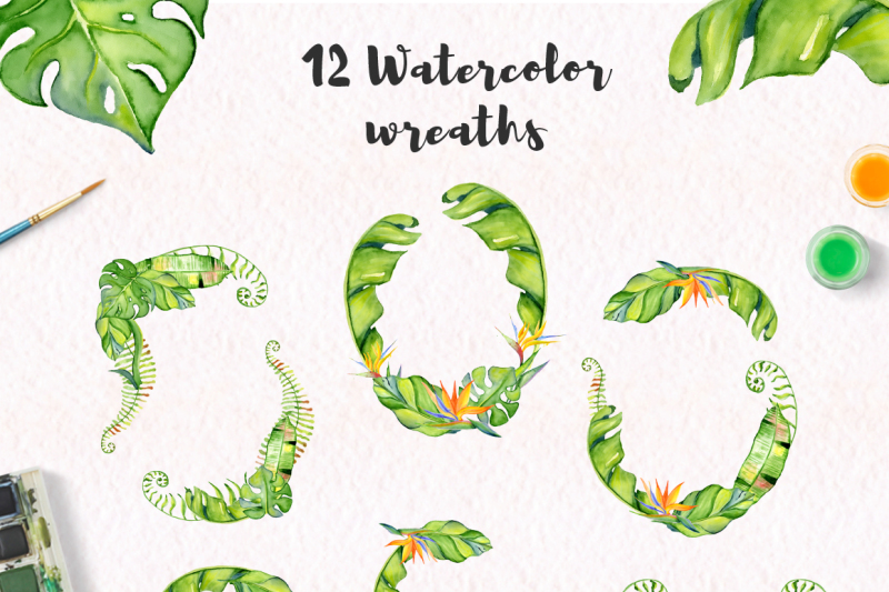 tropical-wreaths-watercolor-jungle-clipart