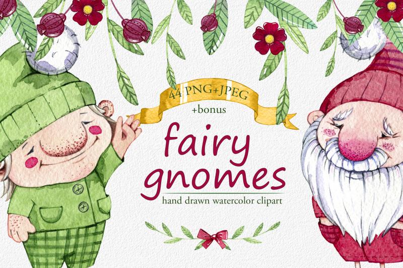 hand-drawn-watercolor-fairy-gnomes