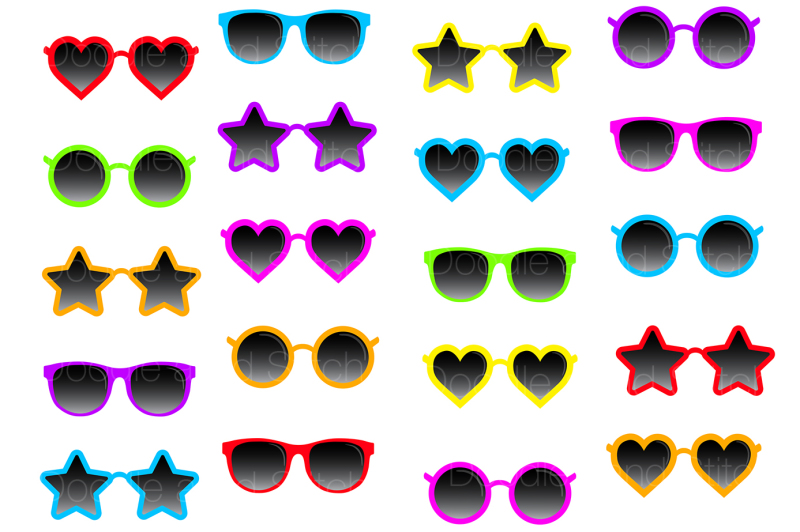 funky-sunglasses-clipart-set