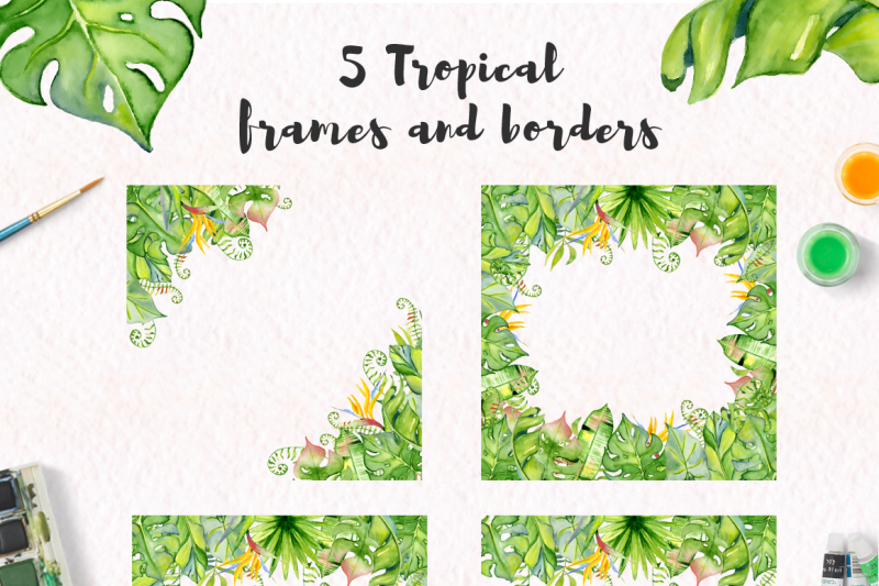 tropical-frames-and-borders-watercolor-leaves-jungle-clipart